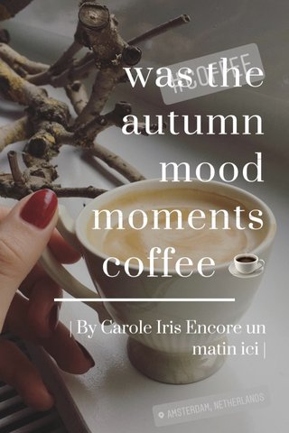 was the autumn mood moments coffee ☕️ | By Carole Iris Encore un matin ici |