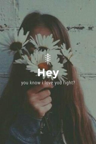Hey you know i love you right?