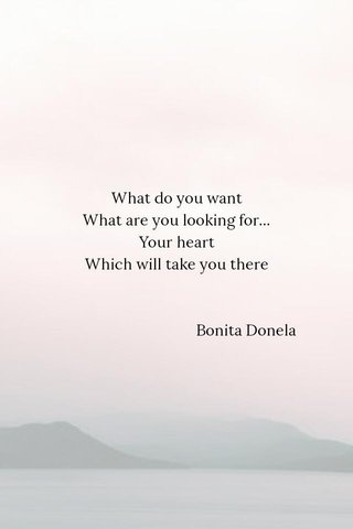 What do you want What are you looking for... Your heart Which will take you there Bonita Donela