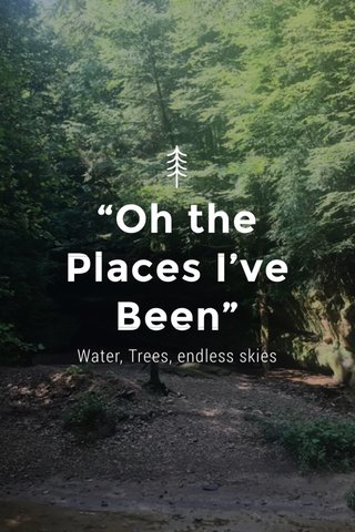"""Oh the Places I've Been"" Water, Trees, endless skies"