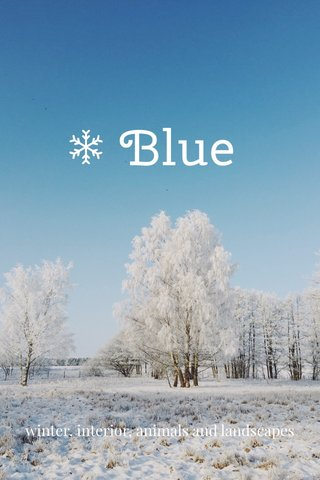 Blue winter, interior, animals and landscapes