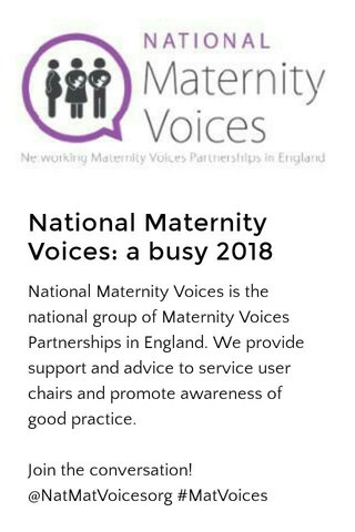 National Maternity Voices: a busy 2018
