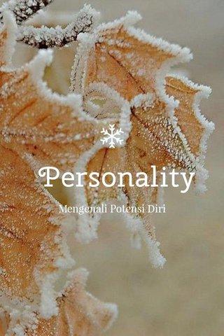 Personality Mengenali Potensi Diri
