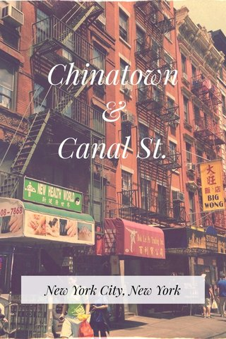 Chinatown & Canal St. New York City, New York