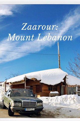 Zaarour: Mount Lebanon