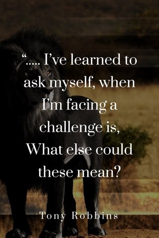 """""""..... I've learned to ask myself, when I'm facing a challenge is, What else could these mean? Tony Robbins"""