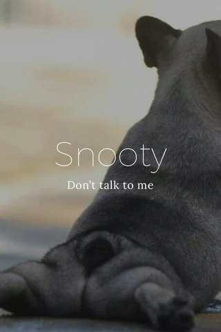 Snooty Don't talk to me