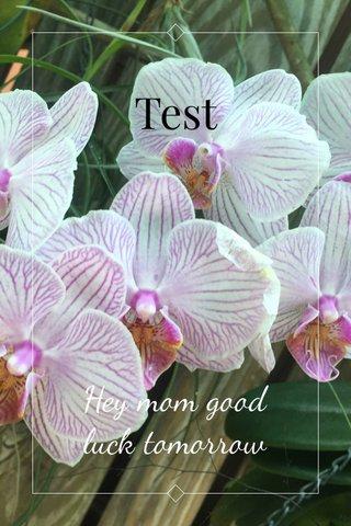 Test Hey mom good luck tomorrow