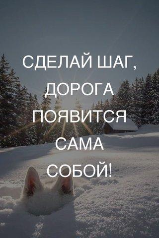 СДЕЛАЙ ШАГ, ДОРОГА ПОЯВИТСЯ САМА СОБОЙ!