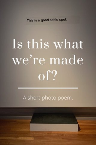 Is this what we're made of? A short photo poem.