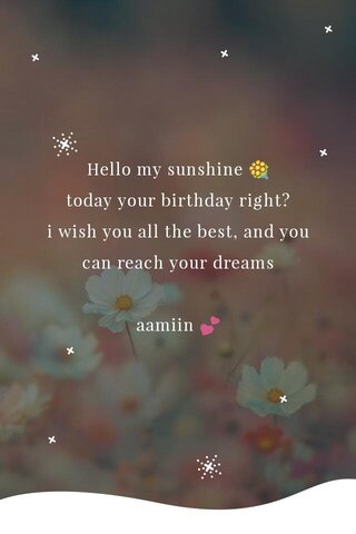 Hello my sunshine 💐 today your birthday right? i wish you all the best, and you can reach your dreams aamiin 💕
