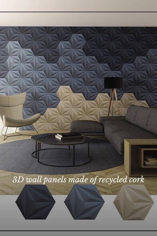 3D wall panels made of recycled cork