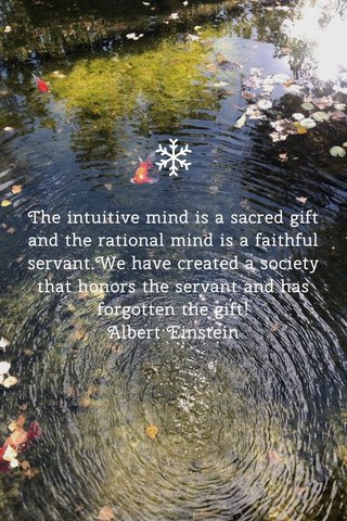 The intuitive mind is a sacred gift and the rational mind is a faithful servant.We have created a society that honors the servant and has forgotten the gift! Albert Einstein