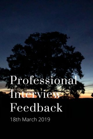 Professional Interview Feedback 18th March 2019