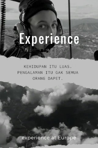 Experience experience at Europe