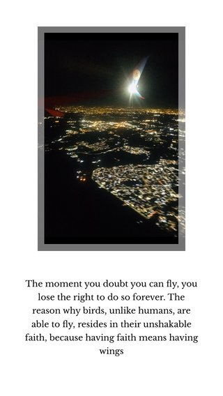 The moment you doubt you can fly, you lose the right to do so forever. The reason why birds, unlike humans, are able to fly, resides in their unshakable faith, because having faith means having wings