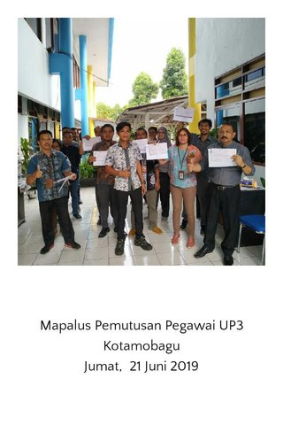 Mapalus Pemutusan Pegawai UP3 Kotamobagu Jumat, 21 Juni 2019