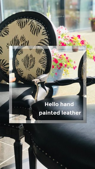 Hello hand painted leather
