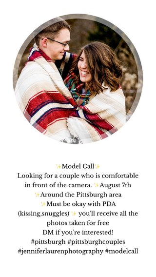 ✨Model Call✨ Looking for a couple who is comfortable in front of the camera. ✨August 7th ✨Around the Pittsburgh area ✨Must be okay with PDA (kissing,snuggles) ✨ you'll receive all the photos taken for free DM if you're interested! #pittsburgh #pittsburghcouples #jenniferlaurenphotography #modelcall