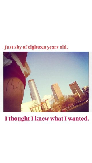 I thought I knew what I wanted. Just shy of eighteen years old,