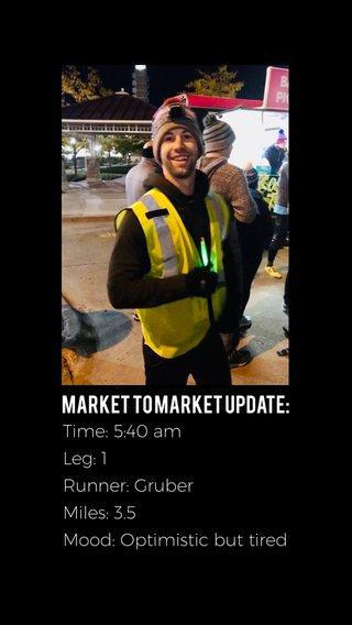 Market to Market Update: Time: 5:40 am Leg: 1 Runner: Gruber Miles: 3.5 Mood: Optimistic but tired