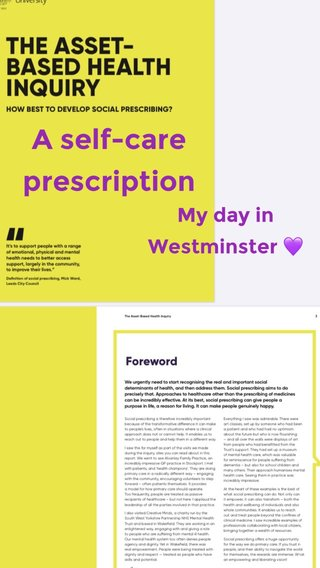 A self-care prescription My day in Westminster 💜