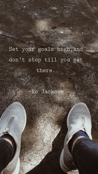 Set your goals high,and don't stop till you get there. -Bo Jackson