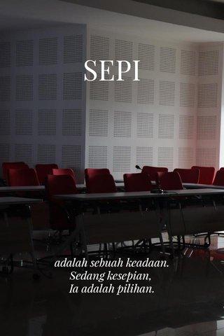 SEPI adalah sebuah keadaan. Sedang kesepian, Ia adalah pilihan.
