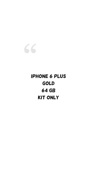 iPhone 6 Plus Gold 64 GB Kit only