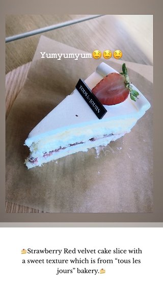 """🍰Strawberry Red velvet cake slice with a sweet texture which is from """"tous les jours"""" bakery.🍰"""