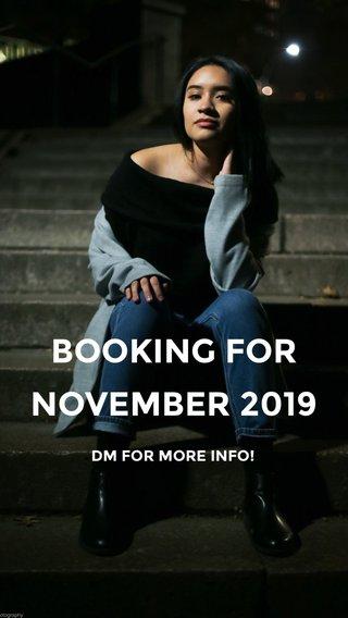 BOOKING FOR NOVEMBER 2019 DM FOR MORE INFO!