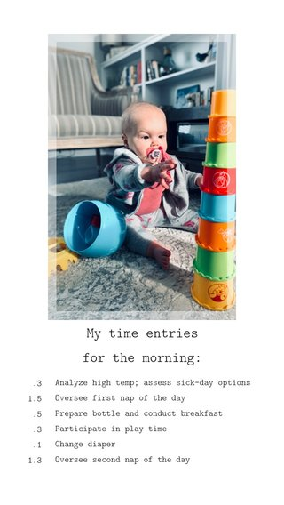 My time entries for the morning: .3 1.5 .5 .3 .1 1.3 Analyze high temp; assess sick-day options Oversee first nap of the day Prepare bottle and conduct breakfast Participate in play time Change diaper Oversee second nap of the day