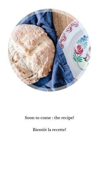 Soon to come : the recipe! Bientôt la recette!