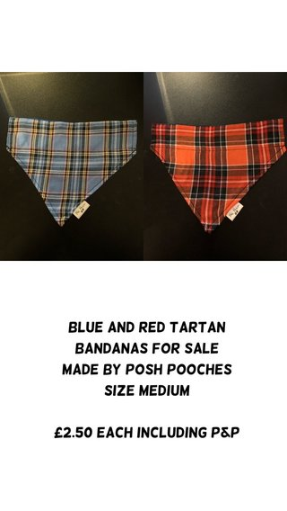 Blue and red tartan bandanas for sale Made by posh pooches Size medium £2.50 each including p&p