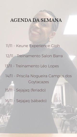 AGENDA DA SEMANA 12/11 - Treinamento Salon Barra 13/11 - Treinamento Léo Lopes 14/11 - Priscila Nogueira Campos dos Goytacazes 15/11 - Sejajaq (feriado) 16/11 - Sejajaq (sábado) 11/11 - Keune Experience Gioh