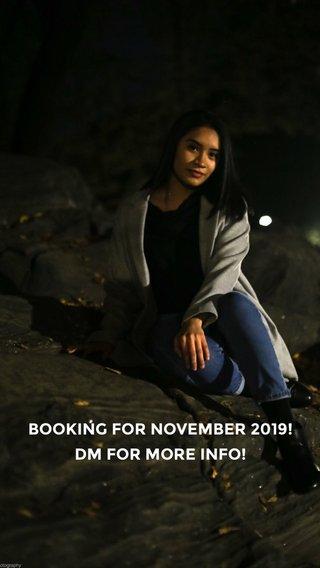 BOOKING FOR NOVEMBER 2019! DM FOR MORE INFO!
