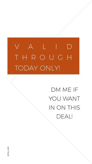 VALID THROUGH TODAY ONLY! DM ME IF YOU WANT IN ON THIS DEAL!