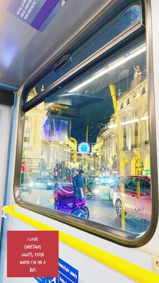 I love Christmas lights, even when I'm on a bus