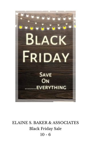 ELAINE S. BAKER & ASSOCIATES Black Friday Sale 10 - 6