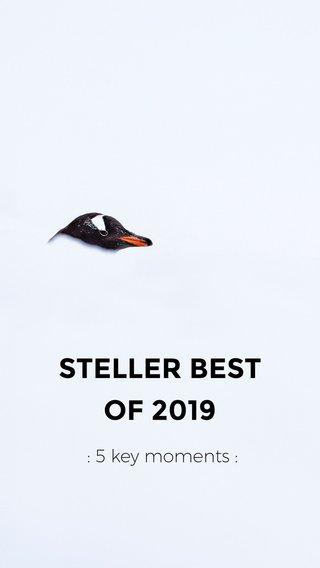 STELLER BEST OF 2019 : 5 key moments :