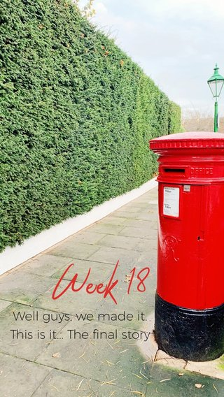 Week 18 Well guys, we made it. This is it... The final story
