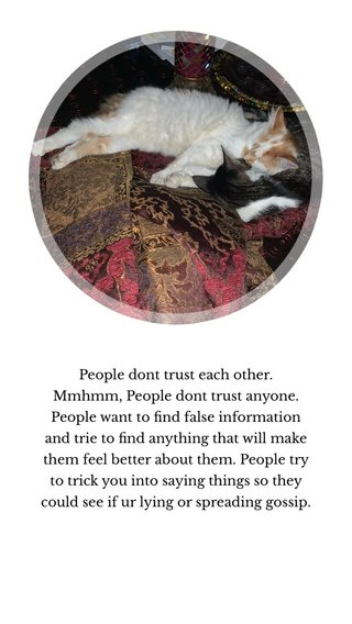 People dont trust each other. Mmhmm, People dont trust anyone. People want to find false information and trie to find anything that will make them feel better about them. People try to trick you into saying things so they could see if ur lying or spreading gossip.