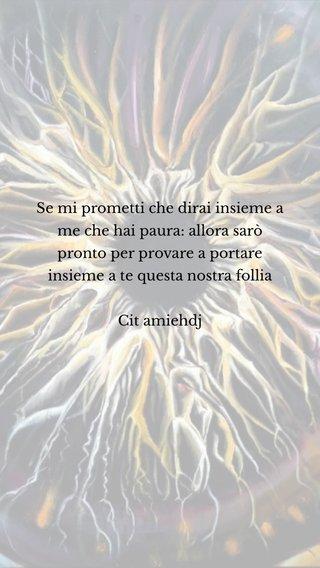 Se mi prometti che dirai insieme a me che hai paura: allora sarò pronto per provare a portare insieme a te questa nostra follia Cit amiehdj