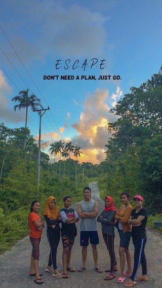 E. S. C. A. P. E. don't need a plan, just Go.