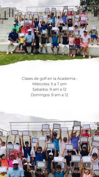 Clases de golf en la Academia : Miércoles: 5 a 7 pm Sabados: 9 am a 12 Domingos: 9 am a 12