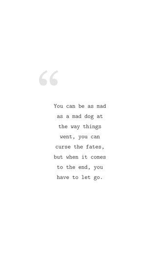 You can be as mad as a mad dog at the way things went, you can curse the fates, but when it comes to the end, you have to let go.
