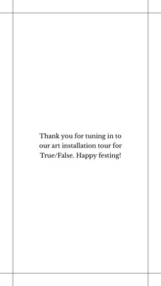 Thank you for tuning in to our art installation tour for True/False. Happy festing!