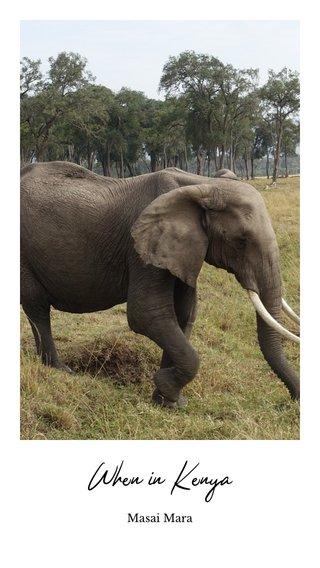 When in Kenya Masai Mara