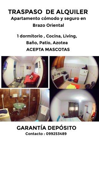 TRASPASO DE ALQUILER GARANTÍA DEPÓSITO Apartamento cómodo y seguro en Brazo Oriental ACEPTA MASCOTAS 1 dormitorio , Cocina, Living, Baño, Patio, Azotea Contacto : 099253489
