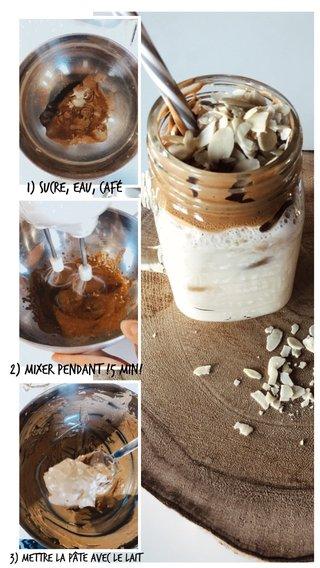 1) sucre, eau, café 2) mixer pendant !5 min! 3) mettre la pâte avec le lait